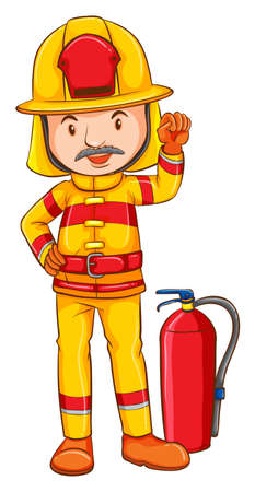 Illustration of a close up fireman Vector