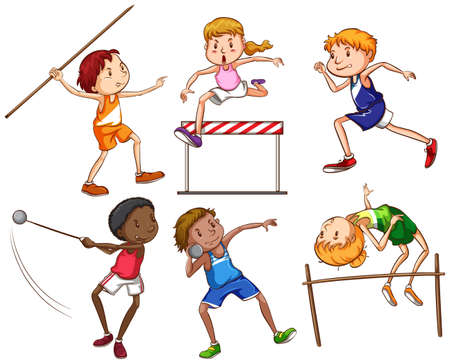 Illustration of the simple sketches of people engaging in different sports on a white background Vector