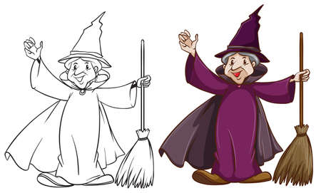 mythological character: Illustration of a witch with a broom