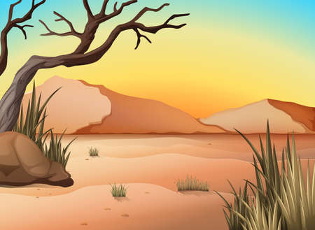 dry: Illustration of a view of a desert