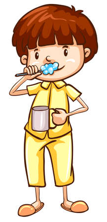 Illustration of a boy brushing his teeth Illustration