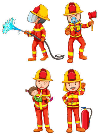 Illustration of fireman with different poses Vector