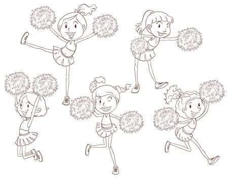 cheerleading squad: Illustration of a simple sketch of the cheerers on a white background