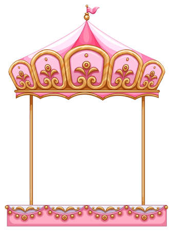 Illustration of a carousel ride without a horse on a white background Ilustração