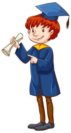 fondo de graduacion: Ilustraci�n de un hombre con un certificado