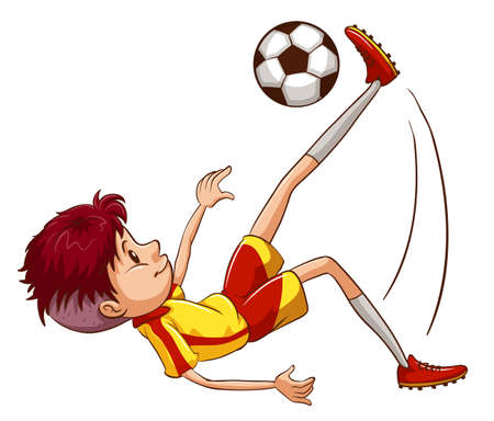 contestant: Illustration of a simple coloured sketch of a soccer player on a white background