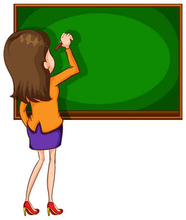 Illustration of a teacher writing on a blackboard