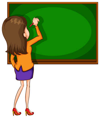 Illustration of a teacher writing on a blackboard Vector