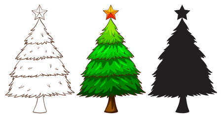 silhouete: Illustration of a christmas tree Illustration