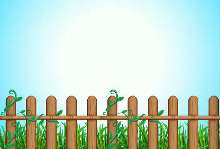 garden fence: Illustration of a wooden fence