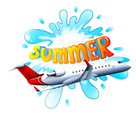 summer holiday: Illustration of an airplane flying