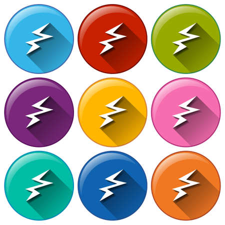 Illustration of the icons with a battery charging sign on a white background Vector