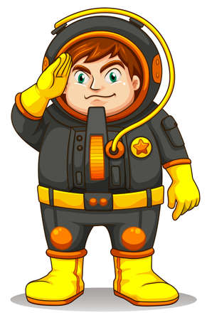 trained: Illustration of a fat astronaut on a white background Illustration