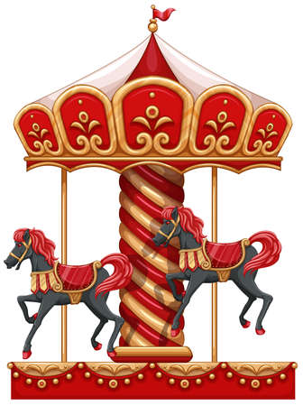 Illustration of a carousel ride with horses on a white background Vector