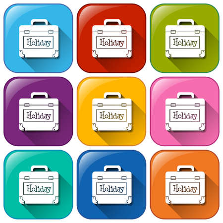 icon buttons: Illustration of the buttons with a holiday bag on a white background