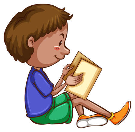 concentrating: Illustration of a boy reading a book Illustration