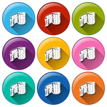 bandaging: Illustration of the round buttons with medical plasters on a white background   Illustration