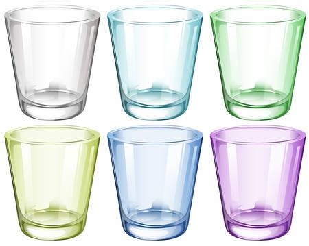 白い背景の上の六つのメガネのイラスト  イラスト・ベクター素材