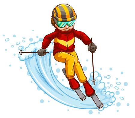 Illustratie van een man skiën afdaling Stock Illustratie