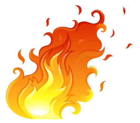 gaseous: Illustration of a big flame on a white background