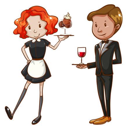 Illustration of two waiter serving Illustration