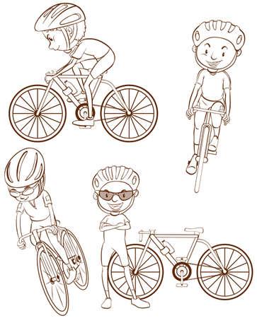 cicla: Ilustración de las personas que conducen bicicletas