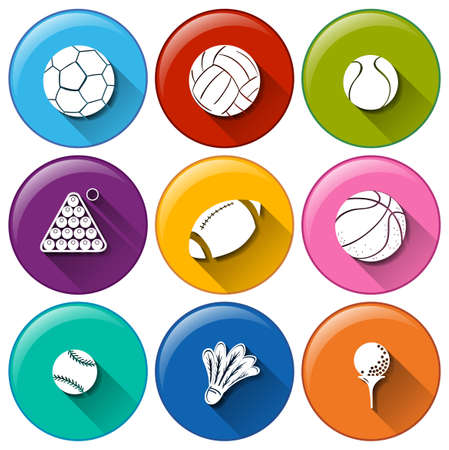 Illustration of the round icons with the different sports balls on a white background   Vector