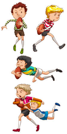 Illustration of boys playing rugby Illustration