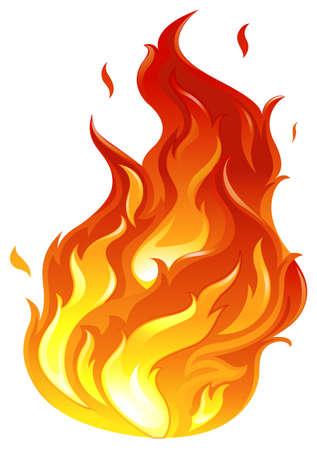 Illustrazione di un grande fuoco su uno sfondo bianco