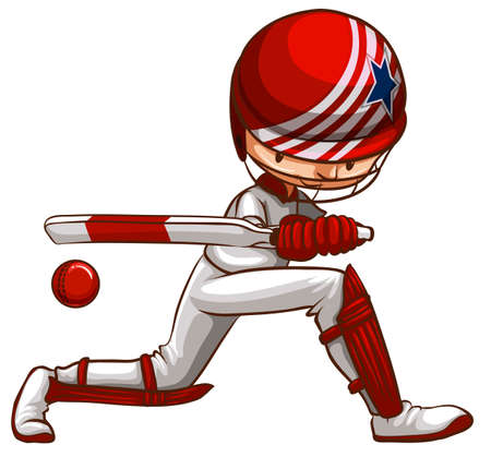 cricket ball: Illustration of a player playing cricket
