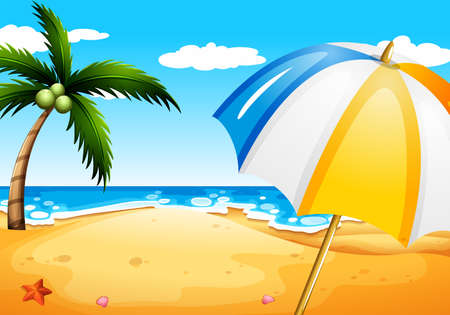 wavelengths: Illustration of a beach with an umbrella