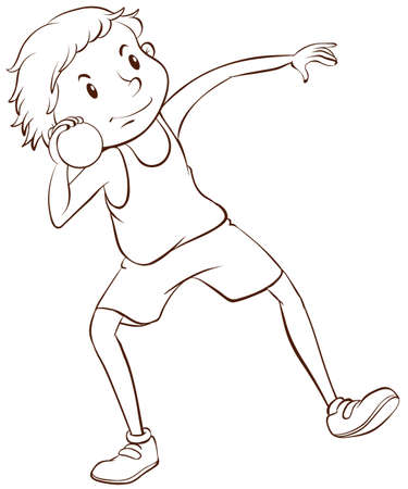 throwing: Illustration of an athlete throwing weight