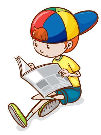 Illustration of a boy reading newspaper