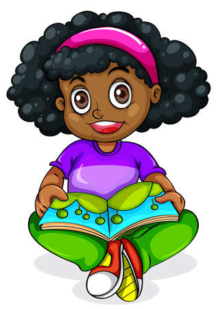 dark complexion: Illustration of a Black young girl reading on a white background