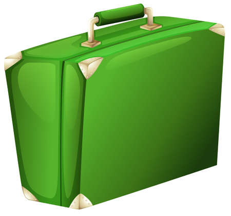 suit case: Illustration of a green case on a white background