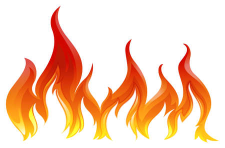 Illustration of a fire on a white background   Ilustração