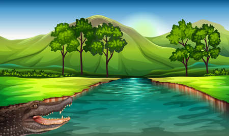 endpoint: Illustration of a river with an alligator