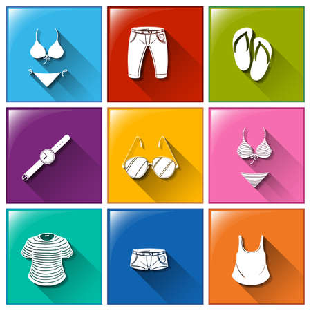 Illustration of a set of clothes icons Vector
