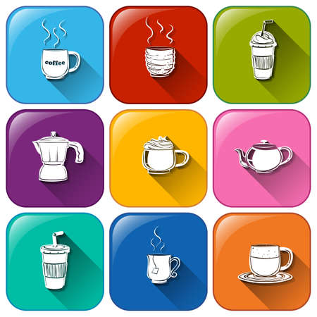 Illustration of a set of drinks icons Vector