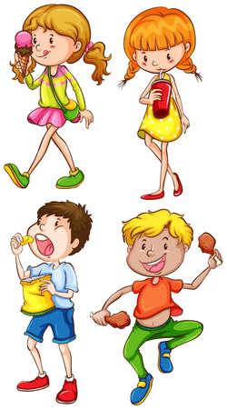 eating food: Illustrazione di bambini a mangiare cibo Vettoriali
