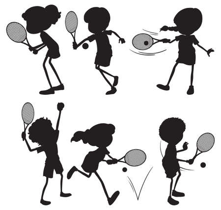 silhouete: Illustration of silhouete of people playing tennis