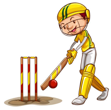 cricket ball: Illustration of a man playing cricket