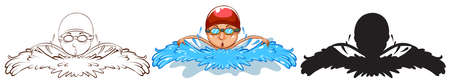 water splash isolated on white background: Illustration of a man swimming Illustration