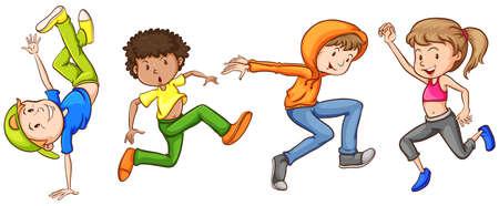 niños bailando: Ilustración de muchos adolescentes que bailan