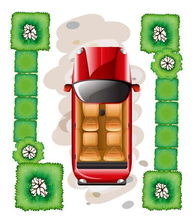 car leaf: Illustration of a bird eye view of a car parking