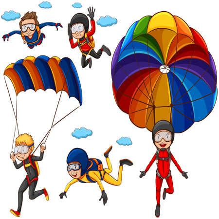 spadochron: Ilustracja wielu ludzi robi spadochrony Ilustracja