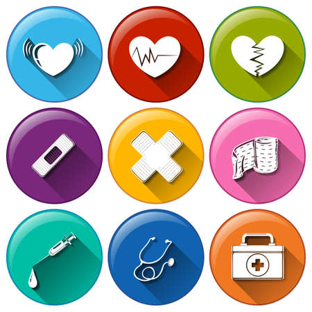 Illustration of a set of medical icons Vector