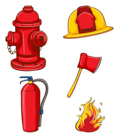 casco rojo: Ilustración de un conjunto de equipos de bombero Vectores