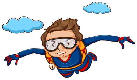 Illustration of a man sky diving