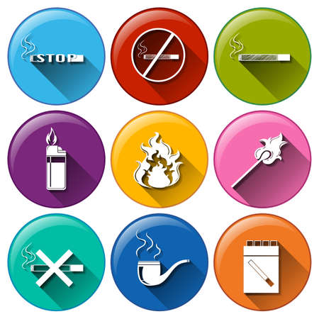 Illustration of a set of smoking icons Vector